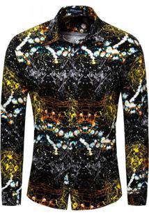 Camisa Estampada Masculina - Preto/Dourado Xg