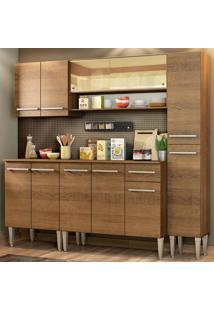 Cozinha Completa Madesa Emilly Sky Com Armário Vidro Reflex E Balcão Marrom