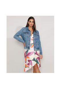 Jaqueta Jeans Feminina Marmorizada Com Bolsos Azul Médio