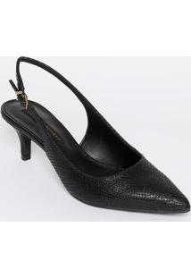 Sapato Chanel Em Couro Texturizado - Preto - Salto: Jorge Bischoff