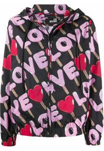 Love Moschino Jaqueta Impermeável Com Estampa De Logo - Preto