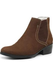 Bota Country Couro Cano Curto Jna Shoes Feminina - Feminino-Marrom