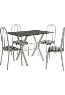 Conjunto De Mesa Miami 4 Cadeiras Branco/Xadrez Fabone