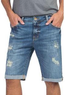 Bermuda Jeans Customizada Masculino - Masculino-Azul
