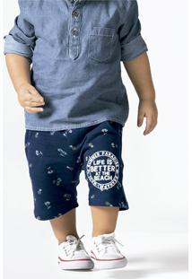 380817816e0267 Bermuda Bebê Menino Estampada Em Moletom Com Elástico No Cós Puc [] []