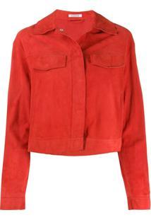 P.A.R.O.S.H. Jaqueta Cropped Com Franjas - Vermelho