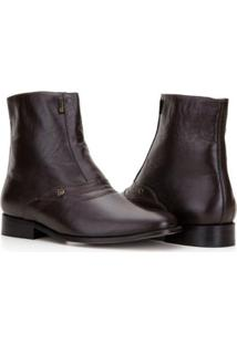Bota Capelli Boots Cano Médio Com Detalhes Em Costura Masculina - Masculino-Café