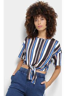 Camiseta My Favorite Thing (S) Cropped Estampa Listrada Amarração Feminina - Feminino-Azul