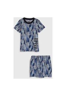 Pijama Elian Curto Infantil Estampado Azul-Marinho/Cinza