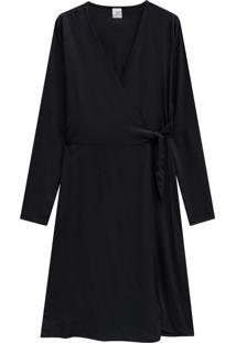 Vestido Lecimar Em Viscose Rayon Outono Inverno Manga Longa Preto 2