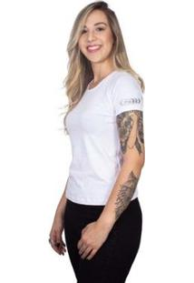 Camiseta 4 Ás Manga Curta Silver Feminina - Feminino-Branco
