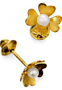 Brinco Em Ouro 18K Florzinha Com Pérola - Br9215