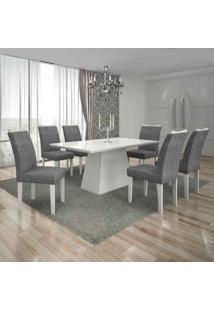 Conjunto De Mesa Com 6 Cadeiras Pampulha I Linho Branco E Cinza
