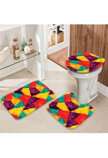 Jogo Tapetes Para Banheiro Geométrico Home - Único
