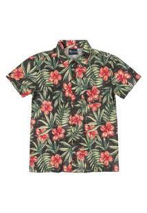 Camisa Manga Curta Estampada Quimby Verde