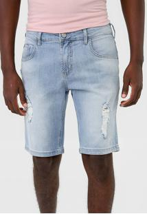 Bermuda Jeans Forum Reta Destroyed Azul