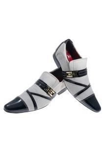 Sapato Masculino Italiano Social Executivo Em Couro Art Sapatos Branco Rajado Piano