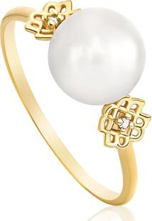 Anel Em Ouro Amarelo 18K Com Diamante, Pérola 14