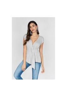 T Shirt Com Detalhe Transpassado Cinza Cinza