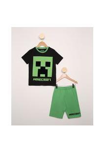 Pijama Infantil Manga Curta Minecraft Preto