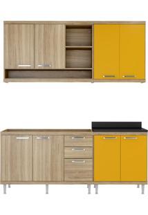 Cozinha Compacta Tandil 8 Pt 3 Gv Argila E Amarelo