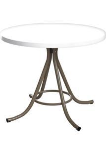 Mesa De Cozinha Redonda Core Branca E Marrom 90 Cm