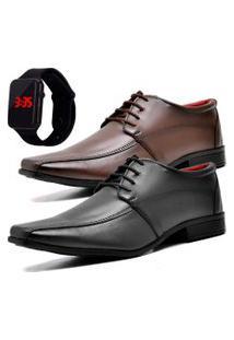 2 Pares Sapato Social Fashion Com Relógio Led Dubuy 804El Preto