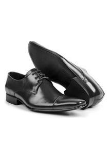Sapato Aberdeen Classico Masculino De Amarrar Couro Preto