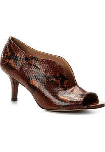 Peep Toe Couro Shoestock Snake High Vamp - Feminino-Caramelo