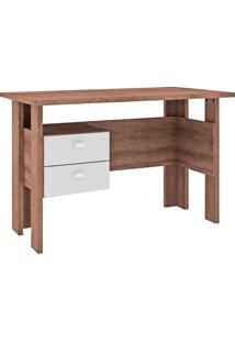 Mesa Escrivaninha 2 Gavetas Msm 423 Rústico/Branco - Móvel Bento