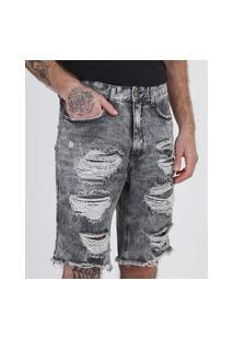 Bermuda Jeans Masculina Slim Destroyed Marmorizada Com Bolsos Preta