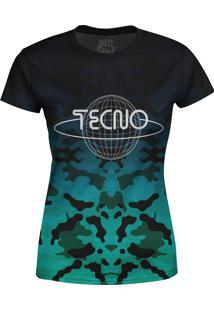 Camiseta Estampada Baby Look Over Fame Tecno Azul