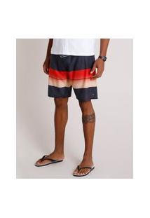 Bermuda Surf Masculina Listrada Com Bolso E Cordão Cinza Claro