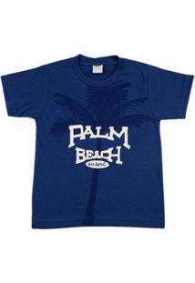 Camiseta Infantil Ano Zero Palm Beach - Masculino-Azul Escuro