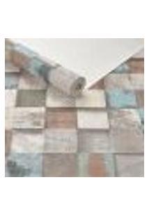 Papel De Parede Importado Vinilico Mosaico Madeira Cubos 3D