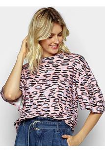 Camiseta Colcci Oversized Estampada Feminina - Feminino-Rosa
