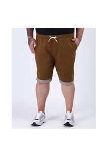Bermuda De Sarja Masculina Plus Size Relaxed Com Recortes E Cordão Caramelo