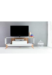 Rack Tv Retrô Vintage Branco/Jatobá Prestage 1 Gaveta 1,4M Mdf Com Pés Madeira Cor Jatobá - 140X40X55 Cm