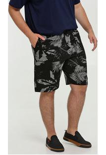 Bermuda Masculina Moletinho Estampa Plus Size Folhas