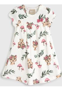 Vestido Milon Infantil Onça Off-White