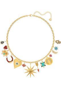 Colar Lucky Goddess Banhado Á Ouro- Dourado & Vermelho
