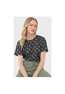 Camiseta Colcci Floral Preta