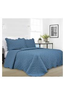Colcha Patchwork Camesa Ilusion Geo Microfibra Solteiro 160X230 Azul