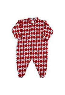 Macacão Pijama Bebê Ano Zero Microsoft Estampado - Vermelho