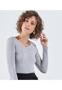 Camiseta Liz Easywear Camiseta Manga Longa Feminina - Feminino-Cinza Claro