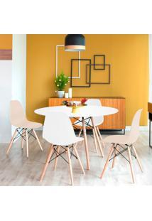Conjunto De Mesa De Jantar Com 4 Cadeiras Eames Eiffel Branco E Fendi
