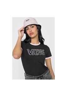 Camiseta Vans Rosa Garden Preta