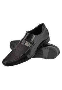 Sapato Social Com Texturas Solado Borracha Leve Marrom