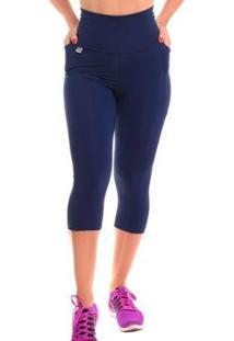 Calça Corsário Com Proteção Solar Fitness Run - Sandy - Feminino-Marinho