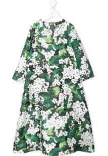 Dolce & Gabbana Kids Vestido Floral Longo De Seda - Verde